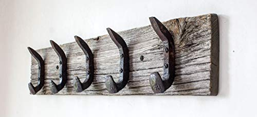 Vintage Rustic Coat Rack –Authentic Barn Wood Hanger Rack for Towels, Clothes, Hats, Bags–Antique Door & Wall Mounted 5-Hook Rail (Railroad Spike Double Hook- 32