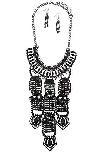 G I Guy Costumes (BAUBLES & CO ORNATE BEADED CRYSTAL ACCENT TIERED NECKLACE SET (Black))