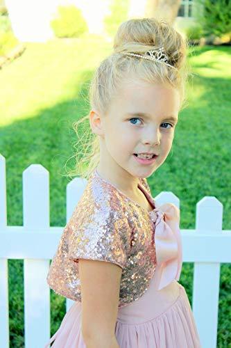 ekidsbridal Sequins Mesh Rose Gold Flower Girl Bolero Cape Dress Cover Up Shrug Coats