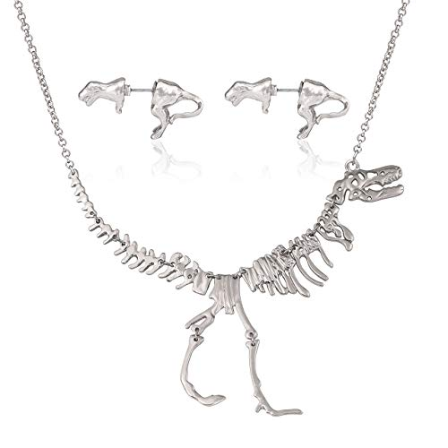 YEYA Dinosaur Vintage Necklace Short Collar Fashion Costume Jewelry for Women Teens (Necklace Earring Set Silver)