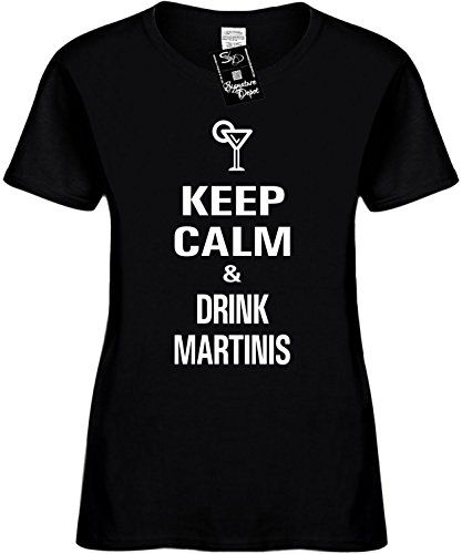Signature Depot Women's Size 3X Funny T-Shirt (Keep Calm and Drink Martinis) Ladies Shirt