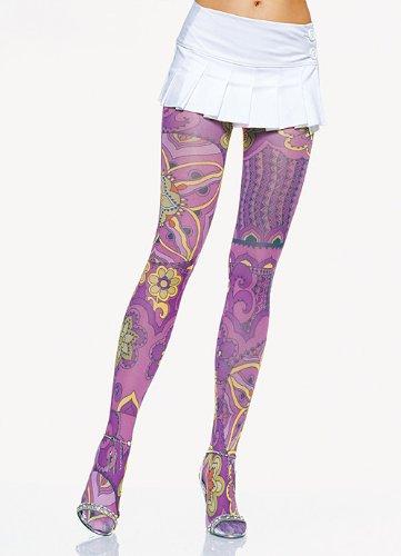 (Leg Avenue Opaque Retro Multi Color Prints Tights (Multicolor;One Size))