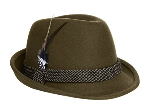 Holiday Oktoberfest Wool Bavarian Alpine Hat - Olive Green - Adult Large (7 3/8