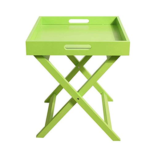 HYLH Side Tables,Tables Homestyle Folding Serving Tray Side Table Breakfast in Bed with Handle MDF (Color : Green, Size : 40 40 46.5cm)