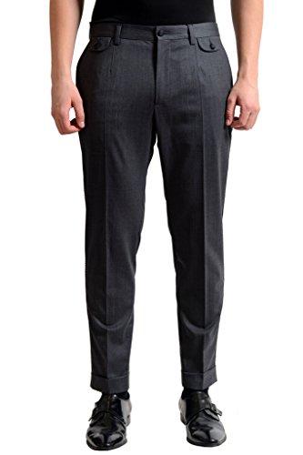 Dolce & Gabbana Wool Gray Flat Front Men's Dress Pants US 32 IT 48;