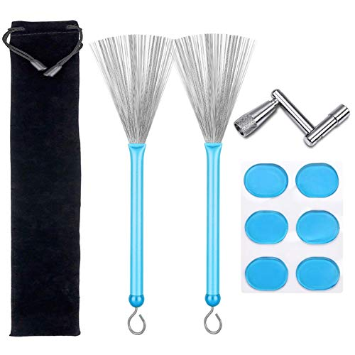Drum Brushes Set, 1 Pair Retractable Drum Wire Brushes with Aluminum Handles, 6 Pcs Silicone Drum Dampeners Gel Pads and 1 Pcs Continuous Motion Speed Drum Key for Drummers Beginners Gifts (Blue)