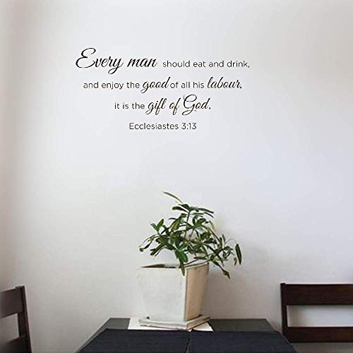 Ptary Decals Stickers Wall Words Sayings Removable Lettering Every Man Should Eat and Drink and Enjoy The Good of All His Labour Christian God Scripture Bible Verse -