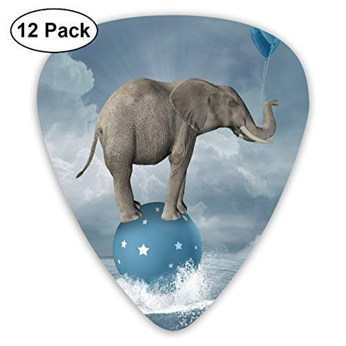 Guitar Picks 12-Pack,Elephant With Balloons On Sea Fish Fantasy Circus Animal Balance Surreal