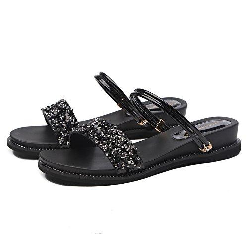 uk3 Pu Flat Mujer Material Opcional Chanclas Oro Sandals Negro Color Black Zapatos Rhinestone 5 cn35 Amazing Silver Gold Eu36 Casual Summer De Bottom Tamaño xtwqIRx0Xc