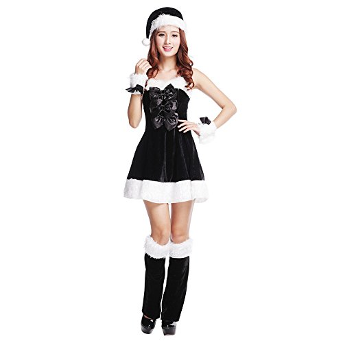 3S Women's Christmas Santa's Costume Party Cosplay Black/White (Black And White Party Costumes)
