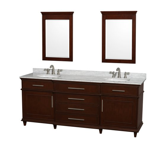 Wyndham Collection Berkeley 80 inch Double Bathroom Vanity in Dark Chestnut with White Carrera Marble Top with White Undermount Oval Sinks and 24 inch Mirrors