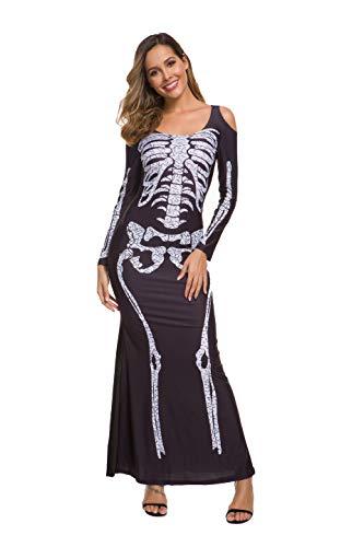 Jug&Po Women's Long Skeleton Dress Adult Halloween Costume Black