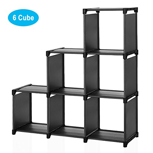 Wishwill 6-Cube Storage Organizer Cabinet with 3-Tier Shelf Closet for Toy/Book/Shoe/Clothes Black