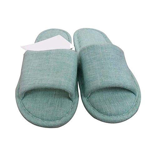 Eastlion Women's & Men's Simple Flax Anti-Skid Seasonal Home Indoor Slippers Shoes Green fISeUHJ3