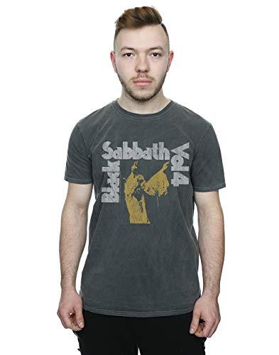 (Absolute Cult Black Sabbath Men's Vol 4 Washed T-Shirt Charcoal X-Large)