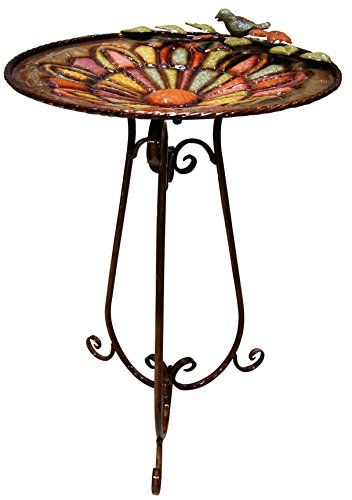 Alpine ORS196 Metal Colorful Birdbath with Bird and Leaves