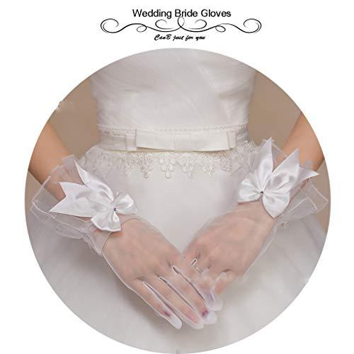CanB Women's Wedding Bridal White Short Gloves Flower
