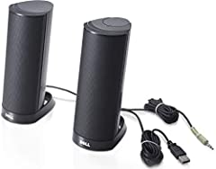 Experience simple, quality audio with Dell AX210 Stereo Speakers. This affordable speaker system is easy to use and easy to set up right out of the box. It comes with an integrated amplifier and has a total output of 1.2 Watts, making it idea...