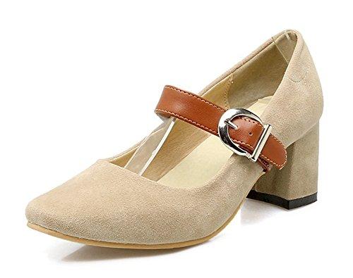 Aisun Womens À La Mode Orteil Carré Boucle Sangle Robe Bloc Moyen Talons Mary-jane Pompes Chaussures Beige