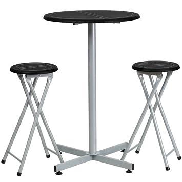 Flash Möbel Bar Höhe Tisch und Hocker Set: Amazon.de: Küche & Haushalt