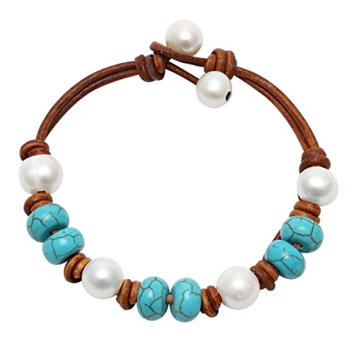 Knotted Leather (Pearl Bracelet Natural Turquoise Bangle Genuine Knotted Leather Jewelry)