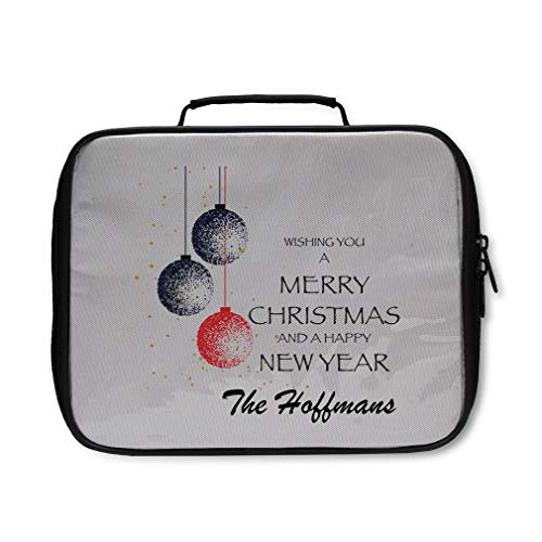 Personalized Custom Wishing You a Merry Christmas Nylon Insulated Lunch Box