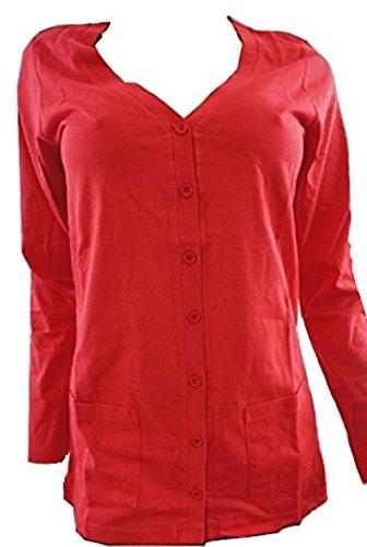 Rouge Jersey à poches à boutons manches longues T Shirt Cardigan