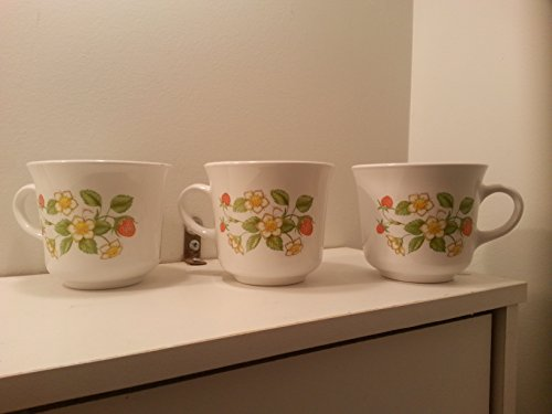 Set of 3 Corelle Strawberry Sundae Coffee Cups Mugs
