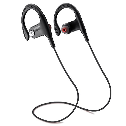 DENISY Bluetooth Headphones with Microphone Wireless Sport Stereo in-Ear Noise Cancelling Sweatproof Headset for iOS and Android Phones (Black)