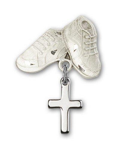 Icecarats Créatrice De Bijoux Croix En Argent Sterling Charme Chaussures De Bébé Broches 1 X 5/8