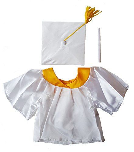 Stuffems Toy Shop White Graduation Gown w/Hat and Scroll Outfit Teddy Bear Clothes Fits Most 14