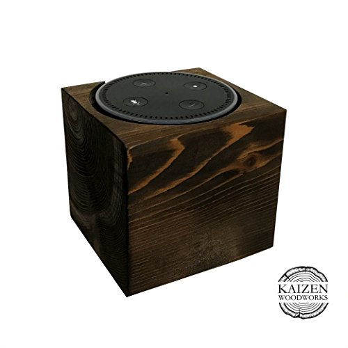 Echo Dot Wood Stand, Espresso, 4x4x4, Distressed, Rustic Amazon Alexa Stand, Handmade in USA, Fits Echo Dot 2nd Generation, Decorative Wood Holder For…