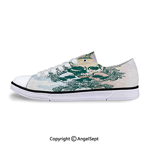 Low Top Canvas Shoes Skeleton Head Trio with Frames Lace Up ()