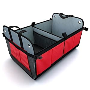 Tidy Globe Premium Heavy Duty Auto Trunk Organizer. Best Cargo Storage for SUV, Cars, Trucks and Minivans, with 3 Compartments and Side Pockets. Durable Velcro Divider, Collapsible and Foldable with.