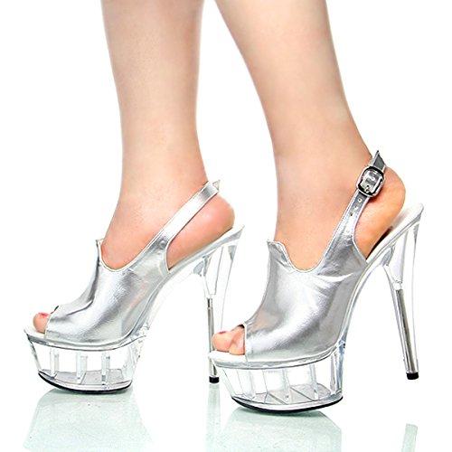 sexy da sottile argenteo scarpe in super modello negozio 36 scarpe summer di matrimonio scarpe 15cm il i scarpe di donna sandali pesce crystal notte di GTVERNH bocca tacchi PEYwqp5n