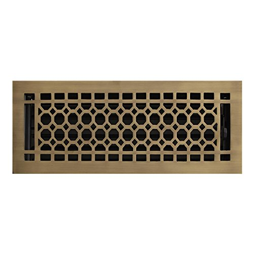 Naiture 8'' x 12'' Brass Floor Register Honeycomb Style Antique Brass Finish by SH