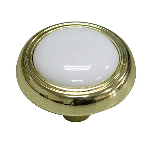 Style Selections 1-1//4-in Polished Brass and Porcelain White Round