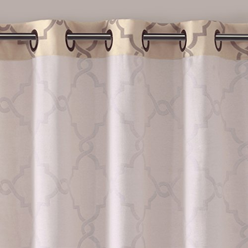 Beige Curtains For Living room, Modern Contemporary Window Curtains For Bedroom, Saratoga Print Fabric Grommet Window Curtains, 100x84 inches, 1-Panel Pack
