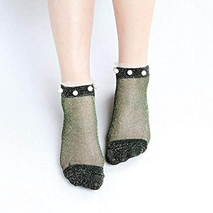 54f867678 Amazon.com  Blue Stones Summer Autumn Fashion Girls Socks Womens Silver  Silk Pearl Socks Ladies Crystal Calcetines Crystal Short Lace Thin Crystal  Socks  ...