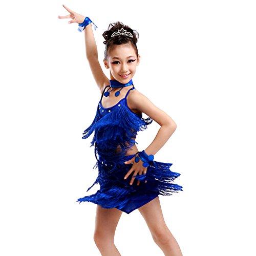 [Girls' Party Dancing Dress Latin Dress Costume Split 110cm-120cm,Royalblue] (Dance Dress Costumes Studio)