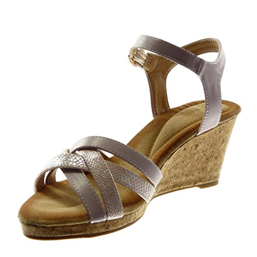 Angkorly Women's Fashion Shoes Sandals Mules - Ankle Strap - Multi Straps - Snakeskin - Cork Wedge 7.5 cm Lila KL4OlY68