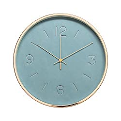 Modern In Craft Leather Design 12 Silent Non-Ticking Wall Clock with Rose Gold Frame (Blue Slate)