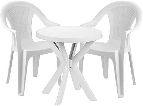 mojawo® Bistro cama de 3 piezas Bistro Mesa Redonda de Plástico ø70 cm h72 cm + 2 sillas apilables plástico color blanco: Amazon.es: Jardín