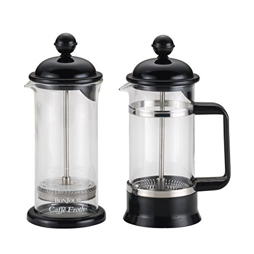 BonJour Coffee Borosilicate Glass French Press & Milk Frother Set, 12.7-Ounce, La Petite, Black (3 Bonjour Cup Press French)