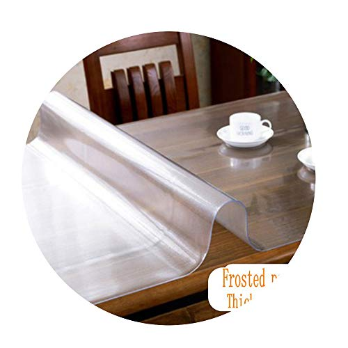 DraFenn PVC Tablecloth Transparent Water Kitchen Pattern Oil Glass Soft Cloth Tablecloth 1.0Mm,Frosted Pattern,80X160Cm