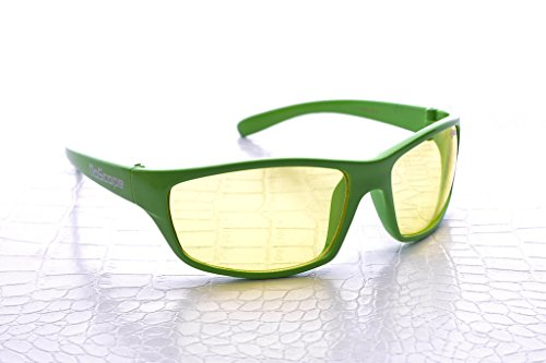 NoScope Minotaur Yellow Lens Video Game Gaming TV & Computer Glasses | Anti Blue Rays & Glare Free | Eye Protection | Reduce Eye Strain and Fatigue | PS4 & Xbox One - Polycarbonate Frame, Wasabi Green