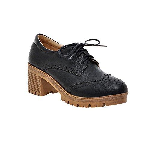 Latasa Womens Fashion Lace-Up Mid Chunky Heel Oxford Shoes Black