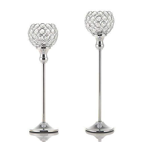(VINCIGANT Modern Silver Crystal Candle Holders/Decorative Candle Lanterns for Anniversary Celebration,Dining Room Coffee Table Decorative Centerpiece/Housewarming Gifts,Set of 2)