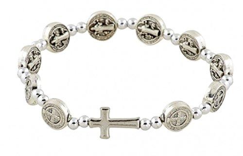 Religious Jewelry Silver Tone Saint Benedict Medal Prayer Bead Rosary Stretch Bracelet, 7 1/2 Inch