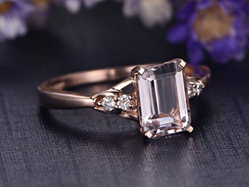 (Natural Pink Morganite Ring 5x7mm Emerald Cut Solid 14k Rose Gold Cluster Diamond Wedding Ring Antique Solitaire Bridal Set Birthstone Anniversary Gift for Her Promise)
